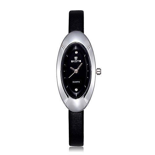 SKONE Frauen Strass Uhren Oval Form Zifferblatt schwarz Leder Band