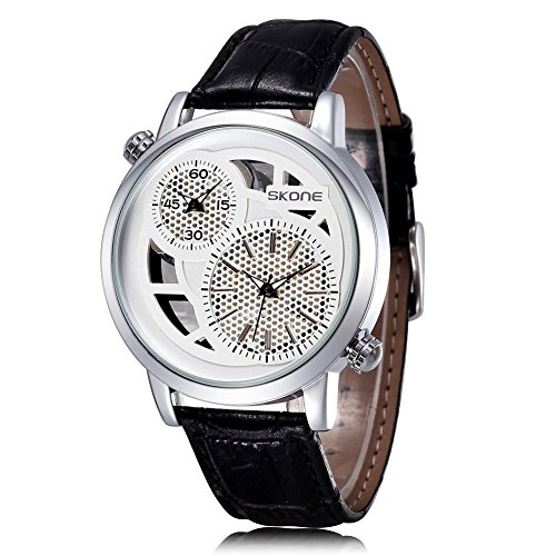 SKONE Herren Dual Time Display Uhr Schwarz Zifferblatt PU Leder Band weiss