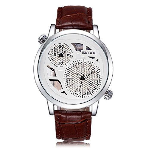 SKONE Herren Dual Time Display Uhr Schwarz Zifferblatt PU Leder Band braun