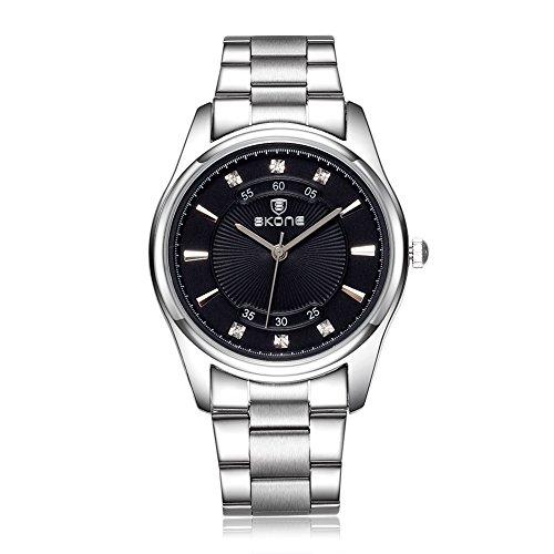 SKONE Herren Strass Luxus Marke Quarz Full Stahl Uhren