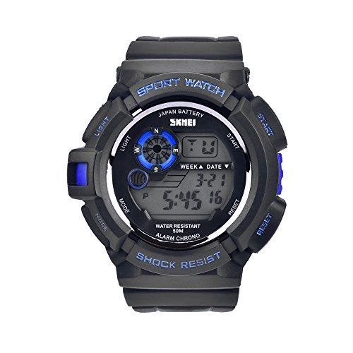 Bozlun Digital Sportuhr fuer Herren in 5 Farben Hintergrundlicht Analog und Digital Anzeige 50m wasserdicht LED Automatischer Kalender Chronograph Alarm Blau