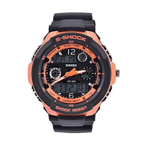 Bozlun Digital Sportuhr mit Analog Digital Display fuer Herren 50m wasserdicht LED Licht Kalender Chronograph Alarm Orange