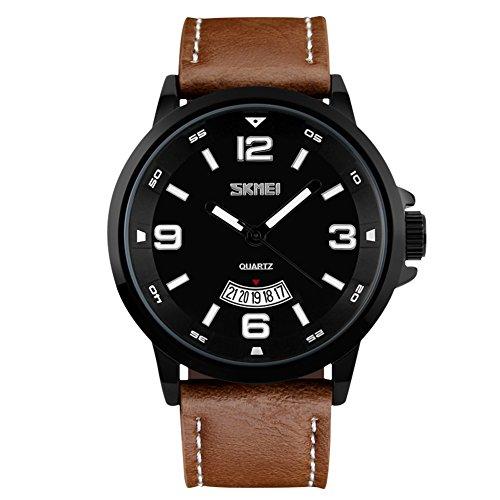 Bozlun Quartz Uhr fuer Herren mir grosser Anzeige Leder Armband bis 30 m wasserdicht Automatische Datumsanzeige Armbanduhr fuer Herren Braunes Armband