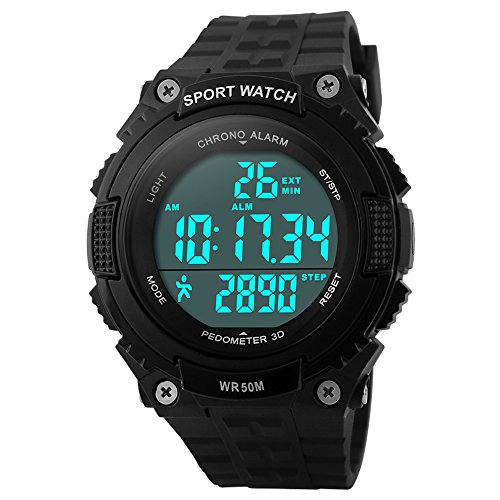 Bozlun Digitale Sportuhr fuer Herren mit Schrittzaehler und Speicher wasserdicht bis 5 bar LED Chronograph Stoppuhr Armbanduhr fuer Herren und Jungen