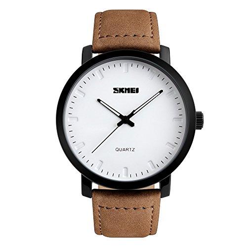 Bozlun Unisex Quartz Uhr bis 30 m wasserdicht schickes Leder Armband und modisches Blatt analoge Business Uhr fuer Herren