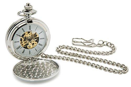 accutime Silber Herren Mechanische Taschenuhr roemischen Ziffern