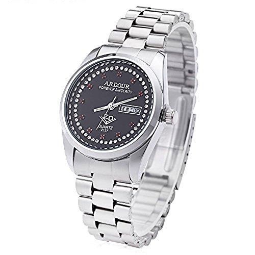 Leopard Shop Begeisterung 2137 Herren Quarzuhr Vergoldet Kalender 3 ATM Kuenstliche Diamant Zifferblatt Display Armbanduhr 5
