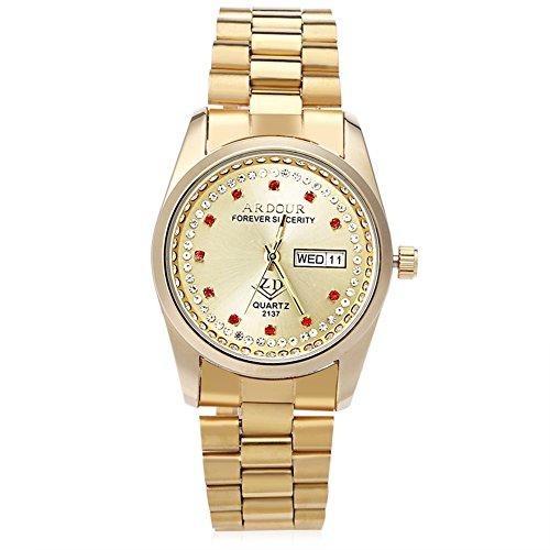 Leopard Shop Begeisterung 2137 Herren Quarzuhr Vergoldet Kalender 3 ATM Kuenstliche Diamant Zifferblatt Display Armbanduhr 1