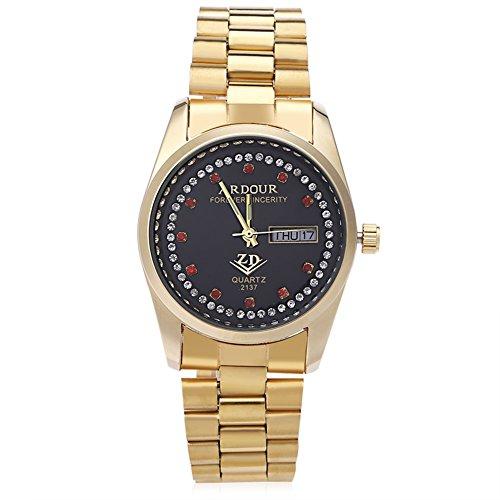 Leopard Shop Begeisterung 2137 Herren Quarzuhr Vergoldet Kalender 3 ATM Kuenstliche Diamant Zifferblatt Display Armbanduhr 2