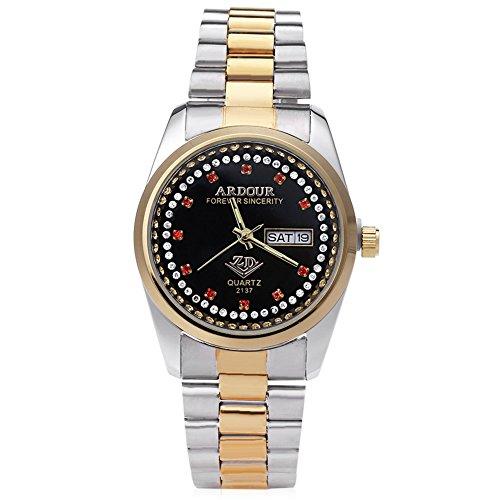 Leopard Shop Begeisterung 2137 Herren Quarzuhr Vergoldet Kalender 3 ATM Kuenstliche Diamant Zifferblatt Display Armbanduhr 8