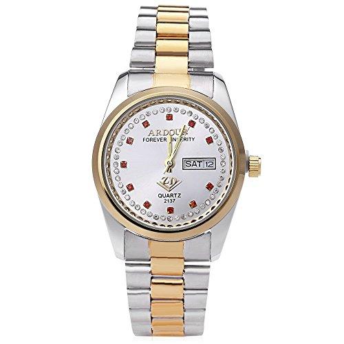 Leopard Shop Begeisterung 2137 Herren Quarzuhr Vergoldet Kalender 3 ATM Kuenstliche Diamant Zifferblatt Display Armbanduhr 7