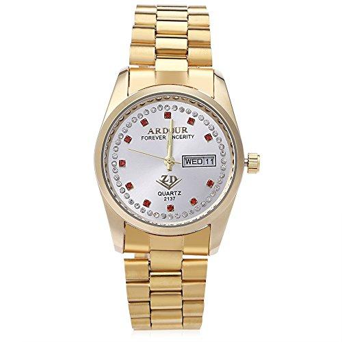 Leopard Shop Begeisterung 2137 Herren Quarzuhr Vergoldet Kalender 3 ATM Kuenstliche Diamant Zifferblatt Display Armbanduhr 3