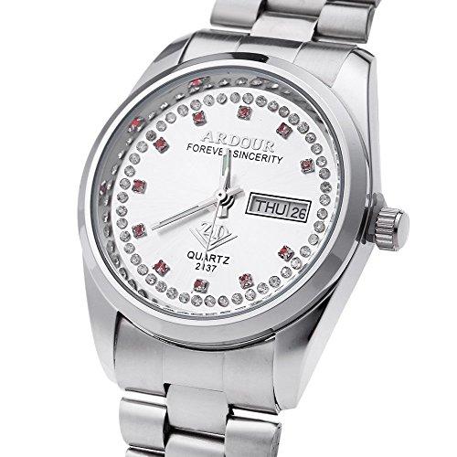 Leopard Shop Begeisterung 2137 Herren Quarzuhr Vergoldet Kalender 3 ATM Kuenstliche Diamant Zifferblatt Display Armbanduhr 4