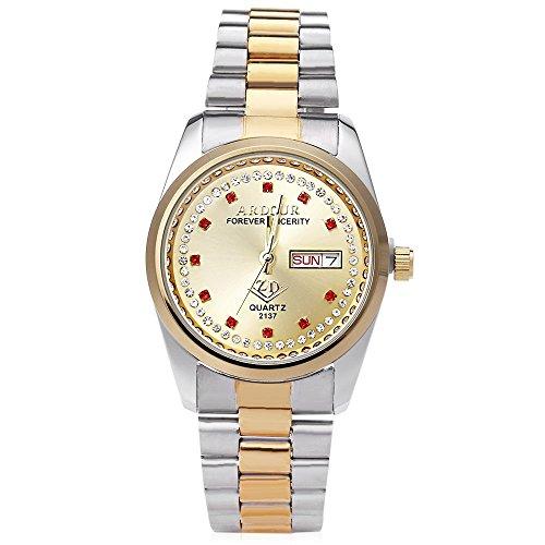Leopard Shop Begeisterung 2137 Herren Quarzuhr Vergoldet Kalender 3 ATM Kuenstliche Diamant Zifferblatt Display Armbanduhr 6