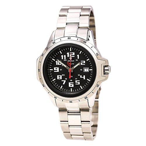 Armourlite AL215 Herren Edelstahl Edelstahl Armband kratzfestes Glas schwarz Zifferblatt Uhr