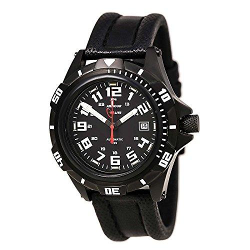 ArmourLite AL411 Herren s Professional schwarz Zifferblatt schwarz Lederband Automatik Uhr
