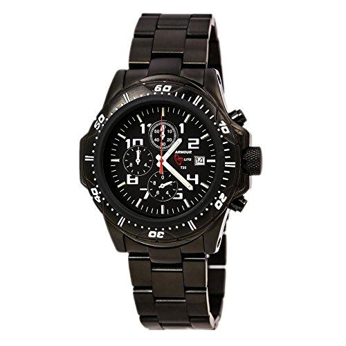 ArmourLite al45 Herren s Professional schwarz Zifferblatt schwarz IP Stahl gruen Tritium Fuellen Chrono Armbanduhr