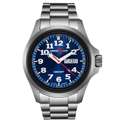 ArmourLite al813 Officer Serie Edelstahl Blue Dial Armbanduhr