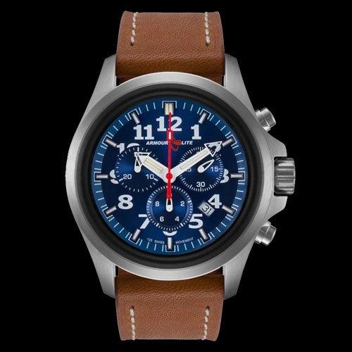 ArmourLite al834 Herren Officer weiss akzentuierten blau Zifferblatt braun Lederband Chrono Armbanduhr