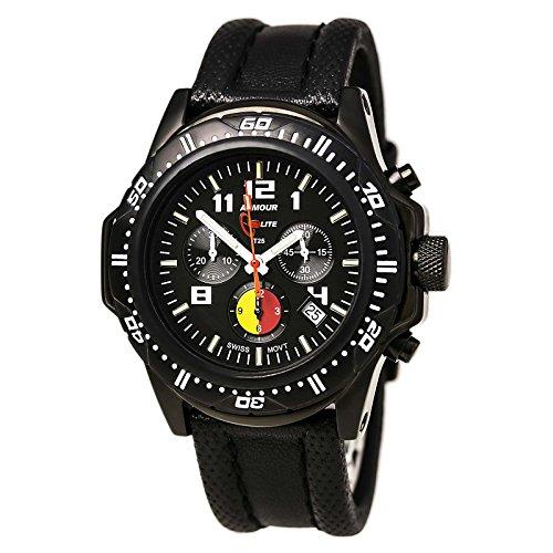 ArmourLite al89 Herren s Professional Feuerwehrmann schwarz Zifferblatt schwarz Lederband Chrono Armbanduhr