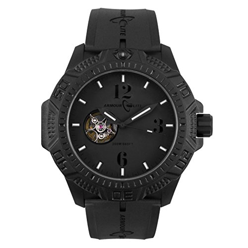 Armourlite Caliber Series Automatic Blackout Watch Black Rubber Band AL1214
