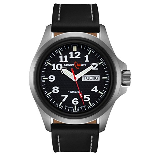 Armourlite Officer Series AL801 Watch Black Dial Black Leather Band