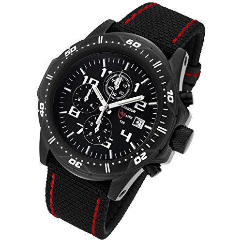 Armourlite Professional Series Black Chronograph with Black Red Kevlar Band Watch AL43 KBR