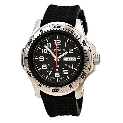 ArmourLite AL55 Herren Shatter Proof Kratzfestes Glas Schweizer Tritium Black Dial Schwarz Uhr