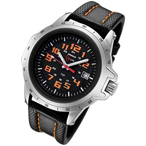 Armourlite Shatterproof AL201 Silver Orange Watch Leather