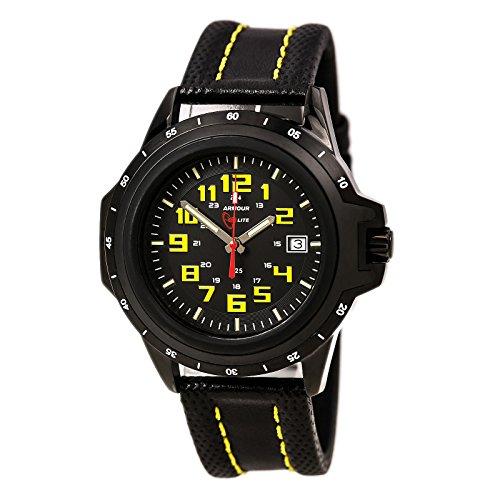 Armourlite Shatterproof AL209 Black Yellow Watch Leather