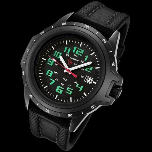 Armourlite Shatterproof AL223 Watch Black Green Leather