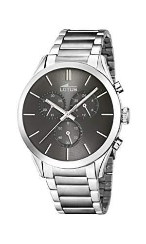 Lotus Herren Armbanduhr Quarz mit grau Zifferblatt Chronograph-Anzeige und Silber Edelstahl Armband 181142