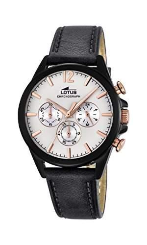 Lotus Herren Quarz-Uhr mit weissem Zifferblatt Chronograph-Anzeige und schwarzes Lederband 181991