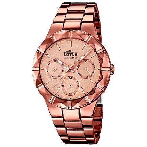 LOTUS Damen Armbanduhr Multifunktion Analog Quarz Uhr Edelstahl kupfer UL18101 1