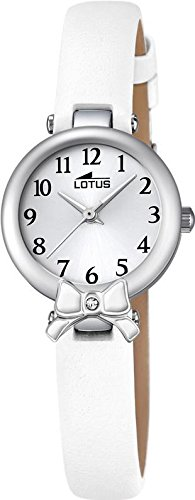 LOTUS Jugend Uhr Junior Collection Analog Leder Armband weiss Chronograph Uhr Ziffernblatt silber UL18265 1