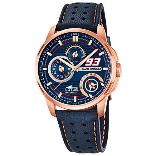 LOTUS Herrenuhr Marc Marquez Chronograph Quarz Uhr Leder Armband blau UL182421
