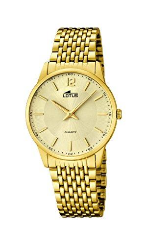 Lotus Quarz mit Gold Zifferblatt Analog Anzeige und Gold Edelstahl vergoldet Armband 15889 3
