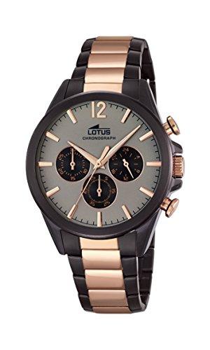 Lotus Herren Armbanduhr Quarz mit grau Zifferblatt Chronograph Anzeige und Edelstahl zweifarbig vergoldet Armband 18196 1