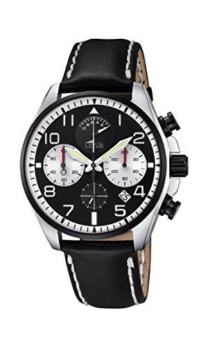 Lotus Herren Quarzuhr mit schwarzem Zifferblatt Chronograph Anzeige und schwarzes Lederband 10127 1