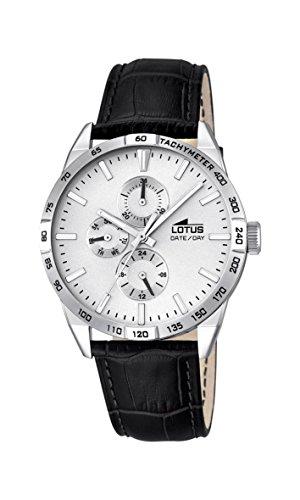 Lotus Herren Quarz Uhr mit weissem Zifferblatt Analog Anzeige und schwarz Lederband 18219 1