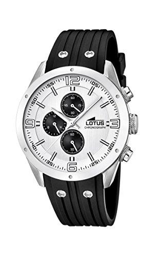 Lotus Herren Quarz Uhr mit weissem Zifferblatt Chronograph Anzeige und schwarz Rubber Strap 15969 1