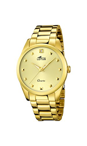 Lotus Damen Quarzuhr mit Gold Zifferblatt Analog Anzeige und Armband Edelstahl vergoldet 18143 Arbeitslampe 2