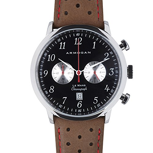 Armogan Le Mans Silver Black S32 Chronograph perforiert Uhrenband Schwarz Braun