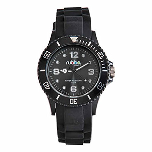 Durable Water resistant Ladies Black Rubba Watch With A Stainless Steel Buckle