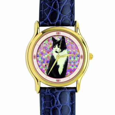 Lesley anne Ivory Black And White Cat Watch Chesterton on Pink Hexagons