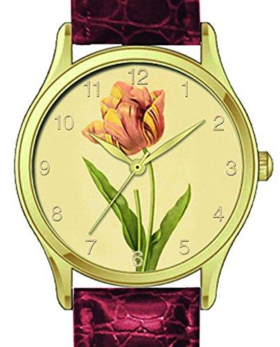 Pierre Joseph Redoute Ladies Quartz Watch With Tulip on Brown Strap