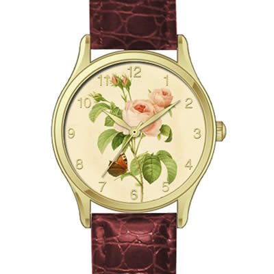 Pierre Joseph Redoute Ladies Watch With Pink Roses on Brown Strap