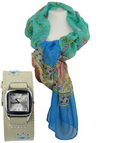 Halstuch Design Set Modell TOULOUSE tuerkis modischer Damenschal im Set mit passender Armband GOOIX mit Echtleder Armband