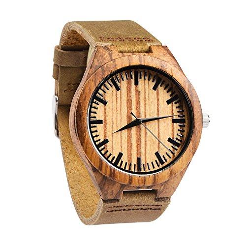 affute Herren Zebrano Holz Uhr mit echter braun Lederband Quarz Analog mit Qualitaet Miyota Bewegung 4 3 cm