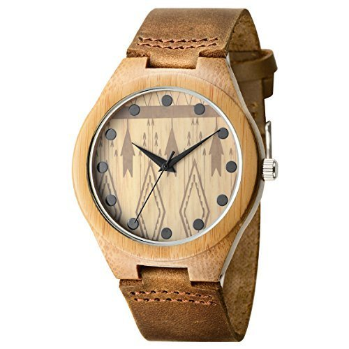 Affute Bambus Armbanduhr japanisches Quarzuhrwerk Holzgehaeuse Lederarmband natuerlich minimalistisches Design
